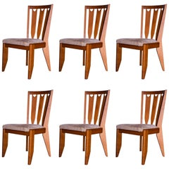 Set of Six Chairs by Guillerme and Chambron, France, circa 1960