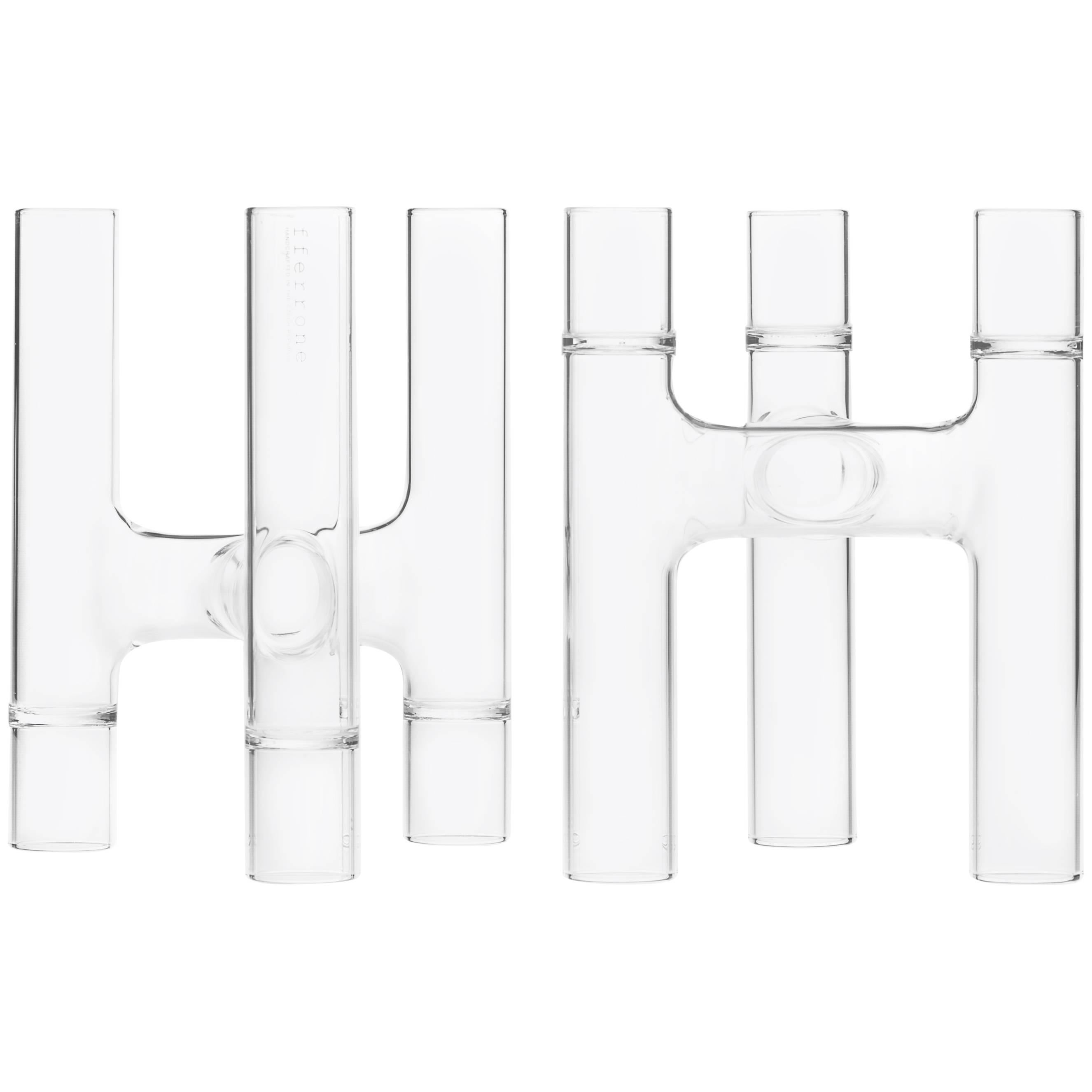 Contemporary Set of Two Czech Clear Glass Trio Candelabras / Bud Vases In Stock