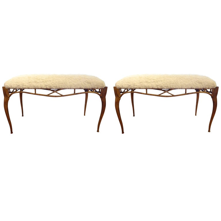 Pair of Italian Gilt Metal Benches