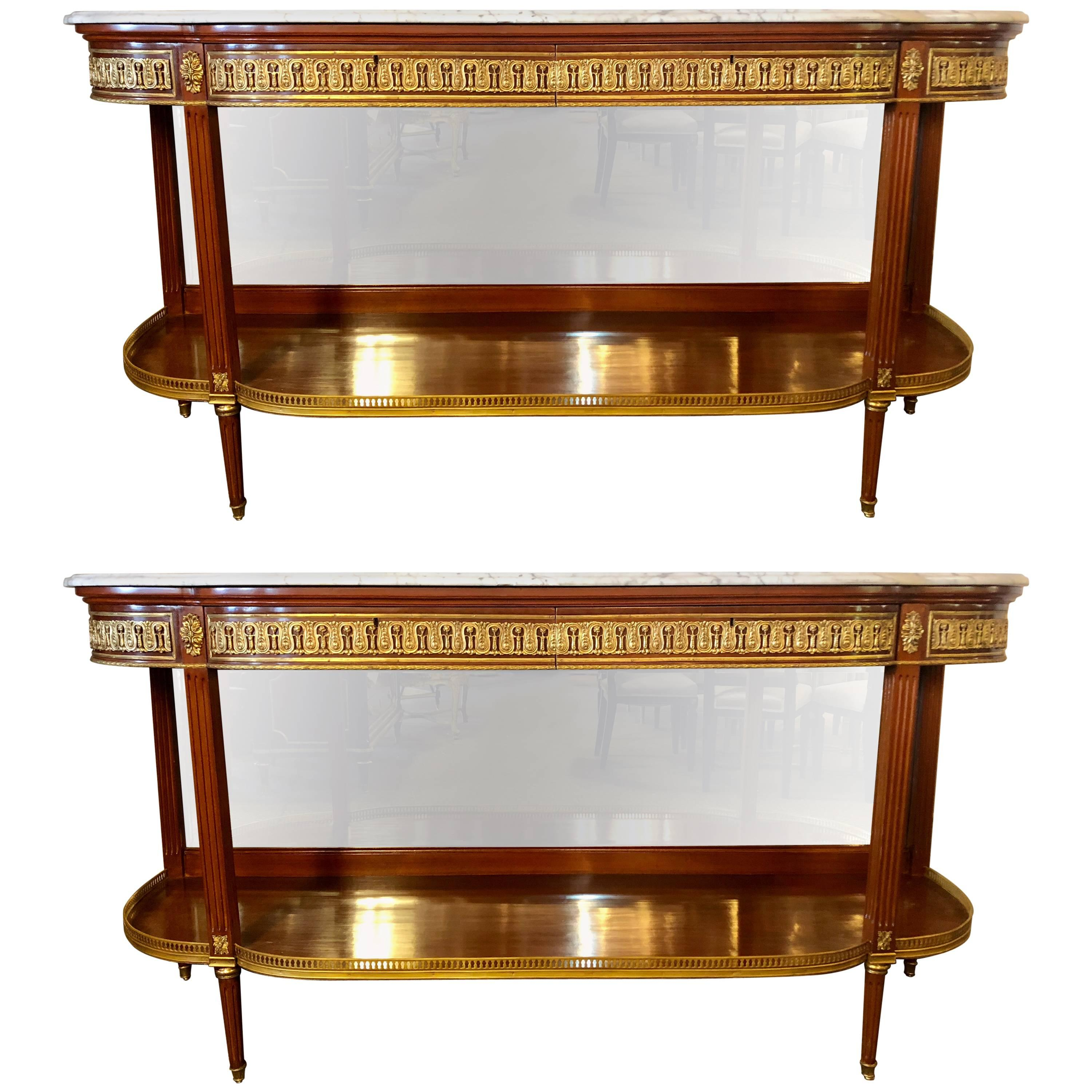 Pair of Palatial Louis XVI Jansen Style Console Tables or Sideboards