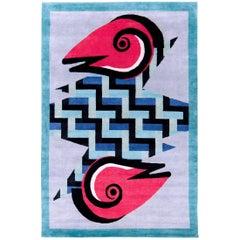 Graphic Silk Rug 'Rasuwa' by Alessandro Mendini