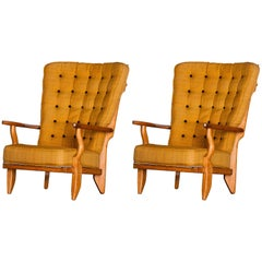 Pair of French Armchairs, Guillerme and Chambron, France, circa 1960
