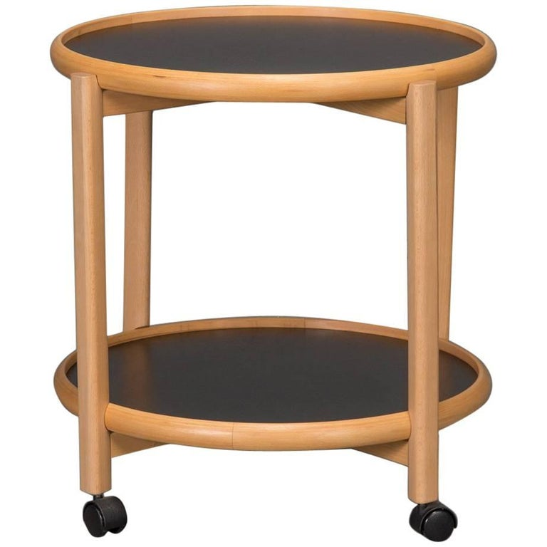 Two-Tier Reversible Top Beech and Laminate Side Table on Casters