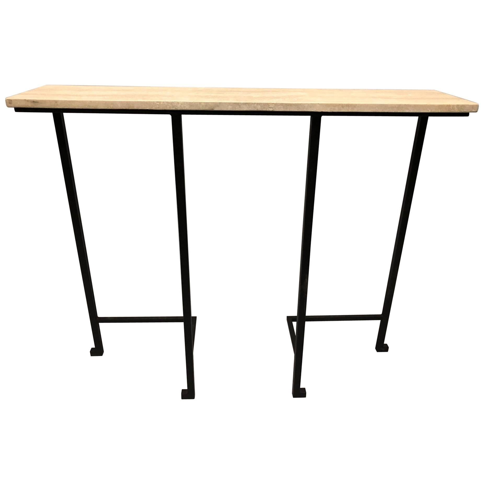 2 French Mid-Century Modern Wrought Iron & Stone Consoles, Attr. Marc Duplantier