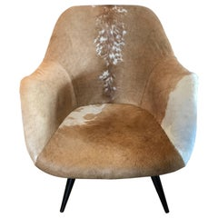 Midcentury Spider Legs Cowhide Swivel Chair Gio Ponti