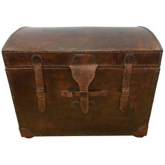 Brown Leather Steamer Trunk