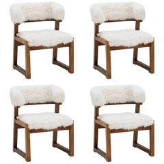 Set of Four Armchairs by Juan Gamboa, Wood and Upholstery with Lambskin, 1968