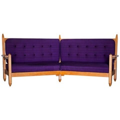 Angle Settee Purple and Oak, Guillerme and Chambron, circa 1960, France