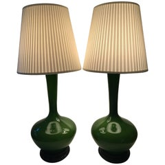 Rare Very Large Pair of Green Opaline Glass Table Lamps, 1950