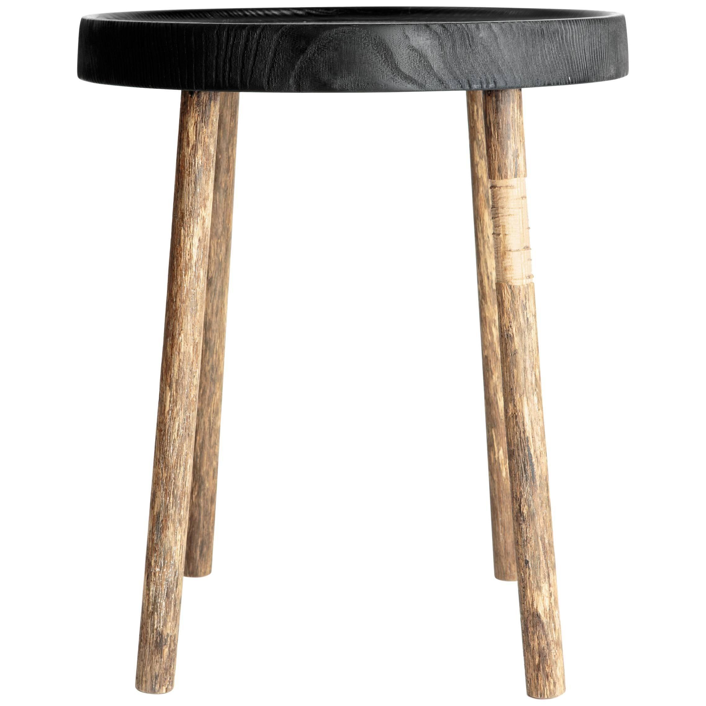 Black Top Hand Carved Oak Side Table, Erik Gustafson
