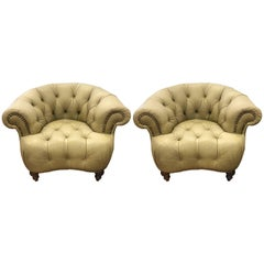Pair of Leather Chesterfield Tufted Chairs, Made in Italy