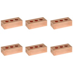 Set of Six Copper Pen Bricks from Souda, in Stock