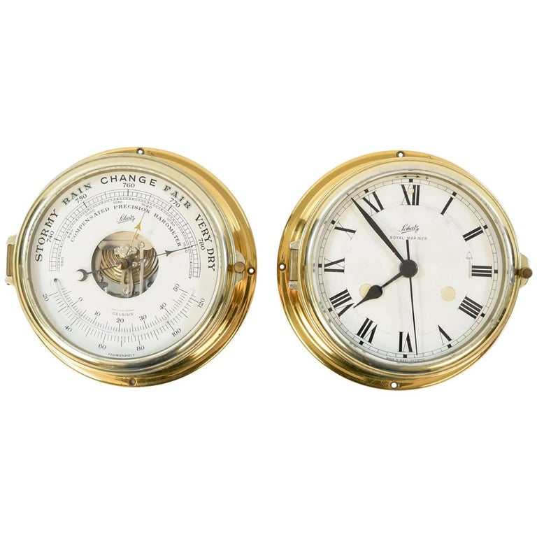Schatz Brass Barometer And Clock Weather Station At 1stdibs