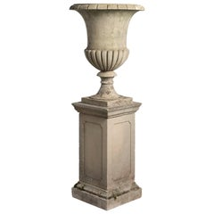 Large Cast Sandstone Urn with Pedestal, circa 1950