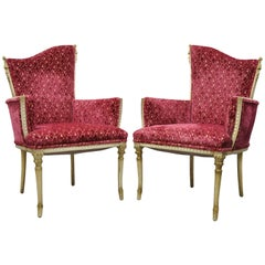 Pair of Hollywood Regency French Style Carved Tassel Fireside Lounge Chairs Red