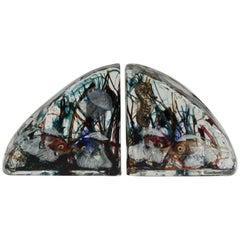 Rare Pair of Alfredo Barbini Murano Aquarium Bookends