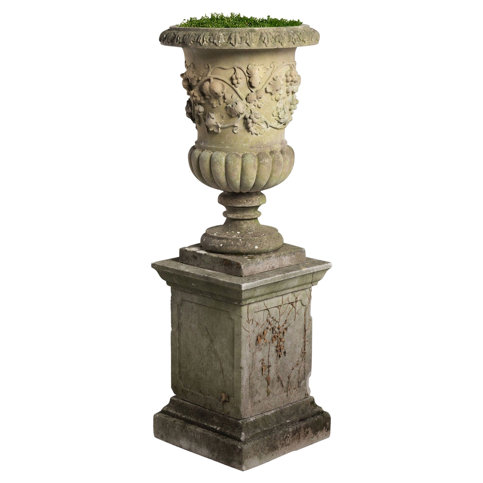Decorative Cast Stone Urn with Pedestal, circa 1950