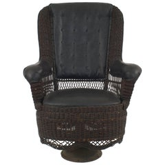 American Victorian Stained Natural Wicker Armchair
