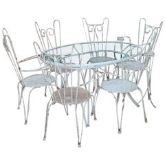 Art Deco, Table and Six Garden Chairs, Iron, French Style