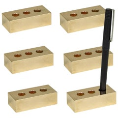 Set of Six Brass Pen Bricks from Souda, in Stock