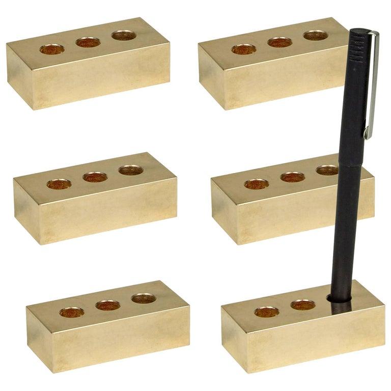 Set of Six Brass Pen Bricks from Souda, in Stock