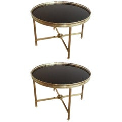 Pair of Round Brass End Tables with Black Glass Tops