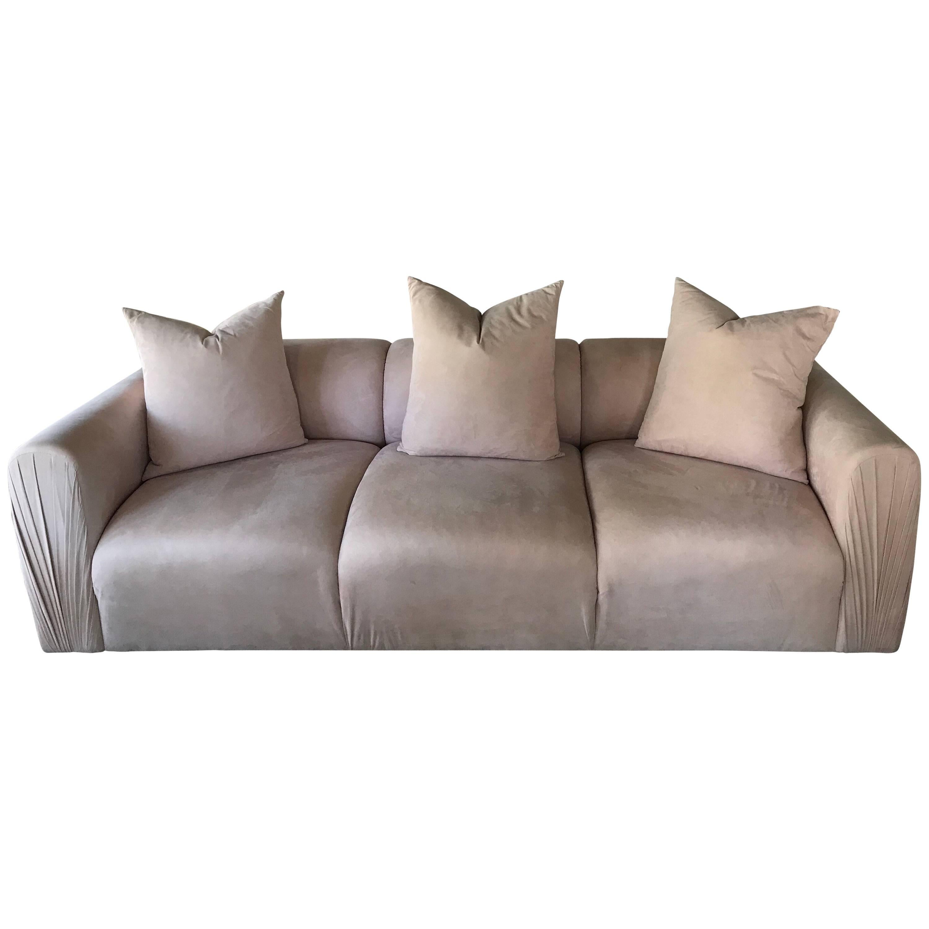 Blush ultra suede 80s modern ruched arm sofa with matching pillows for sale at 1stdibs