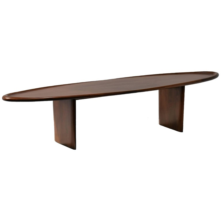 T.H. Robsjohn-Gibbings, Surfboard Shaped Coffee Table, Walnut, circa 1950