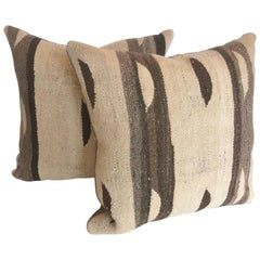 Custom Pair of Pillows Cut from a Moroccan Hand Loomed Wool Berber Rug
