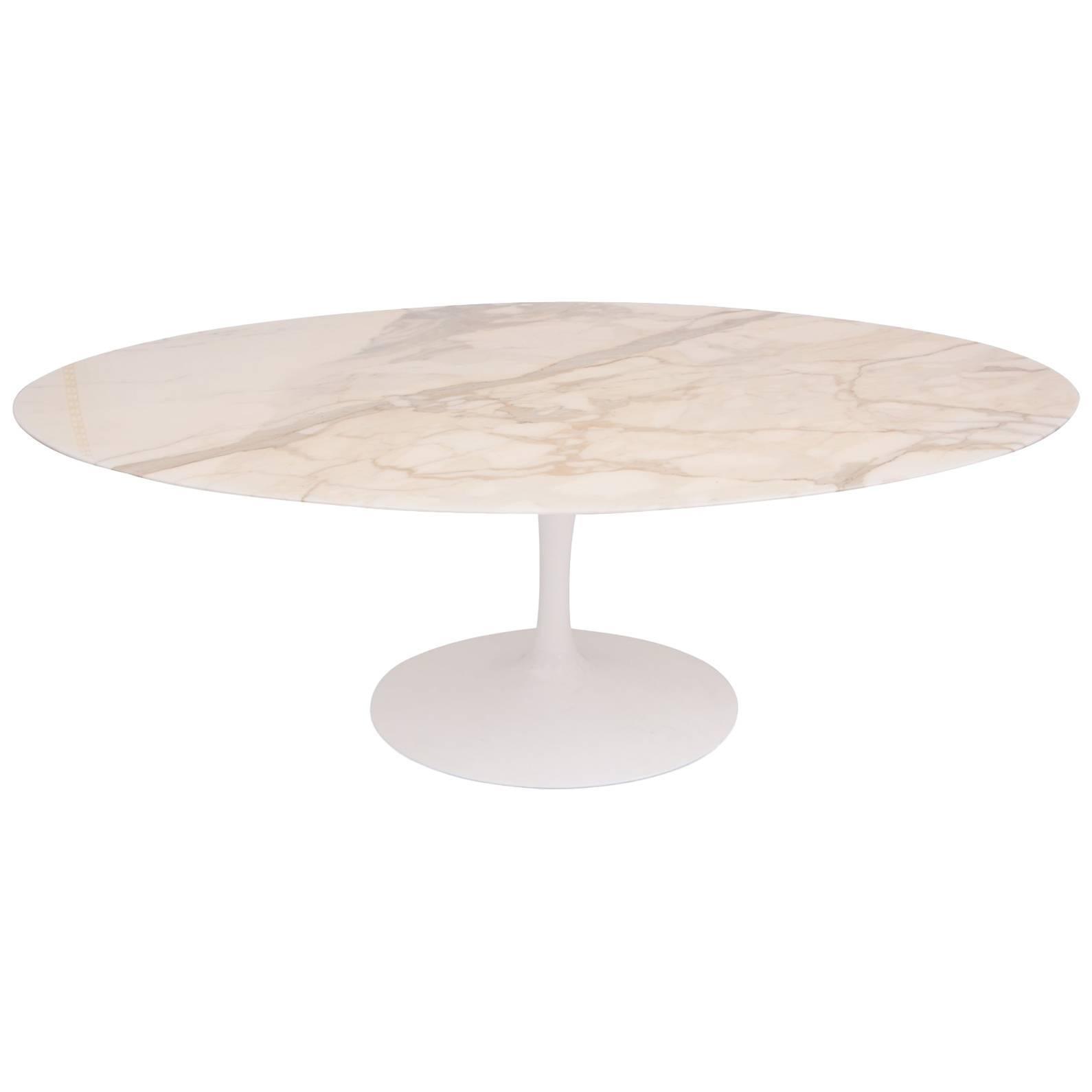 Eero Saarinen Knoll Calacatta Marble Oval Dining Table For Sale