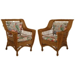Pair of American Mission 'Bar Harbour' Style Natural Wicker Armchairs