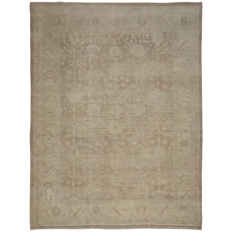 Modern turkish oushak rug in warm neutral colors for sale for Warm rugs