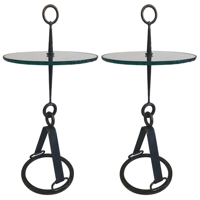 Pair of Italian Mid-Century Modern Wrought Iron Side Tables by Giovanni Banci