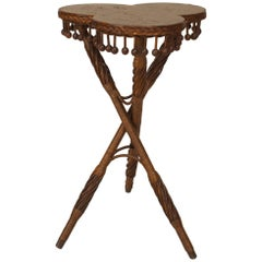 American Victorian Natural Wicker Tripod Table
