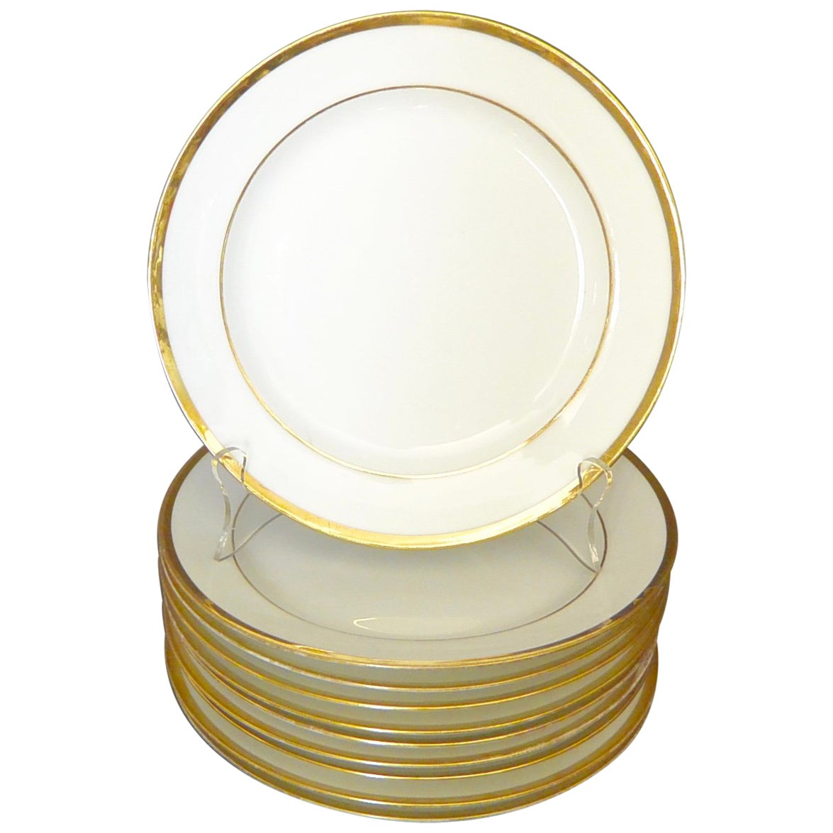 Set of Ten White and Gilt French Empire Plates