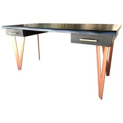 Black Wood and Cooper Metal Modern Art Desk