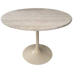 Maurice Burke Travertine and Cream Tulip Base Dining or Centre Table