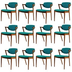 1960s Kai Kristiansen Set of 12 Model 42 Dining Chairs in Teak