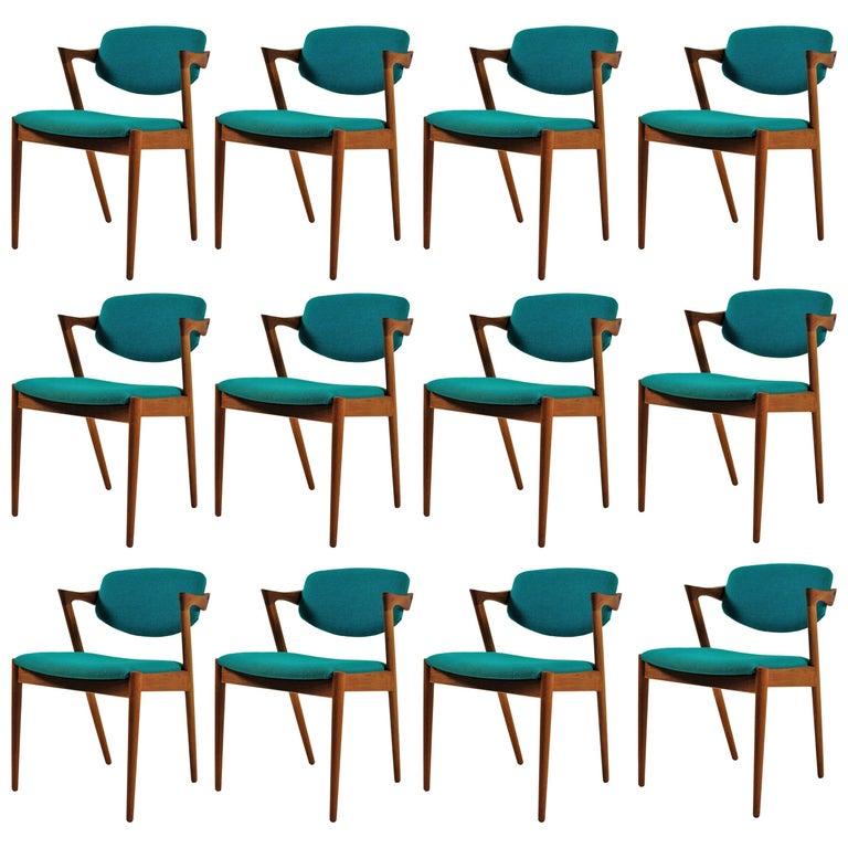 1960s Kai Kristiansen Set of 12 Model 42 Dining Chairs in Teak
