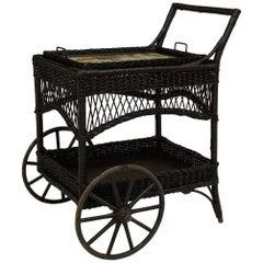 American Victorian Black Painted Wicker Bar Cart
