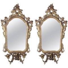Pair of Italian Gilt Girandole Mirror Sconces