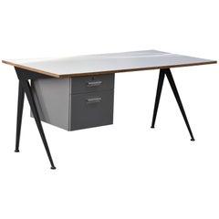 Jean Prouvé, Large Compas Desk, White Formica Top Black Lacquered Metal