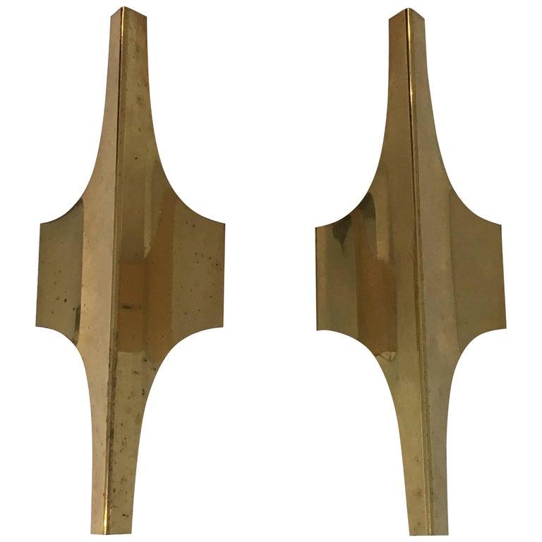 1960's Italian Pair of Brass Sconces