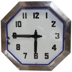 Large American Double-Sided Chrome Neon Clock, 1930s