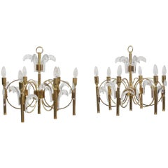 Pair of Midcentury Sciolari Gold-Plated Brass and Crystal Six-Light Chandeliers