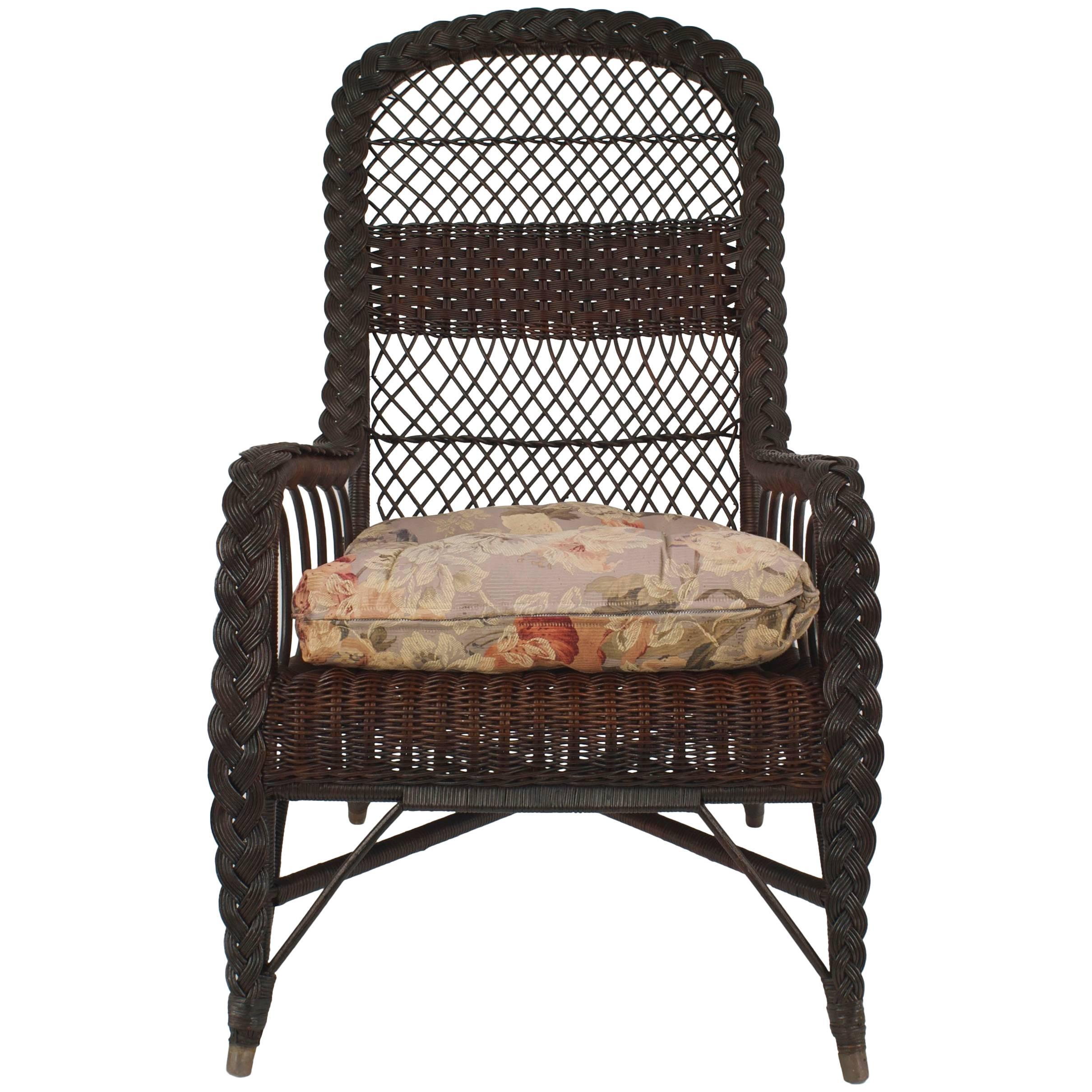 American Mission Dark Stained Natural Wicker Armchair For Sale