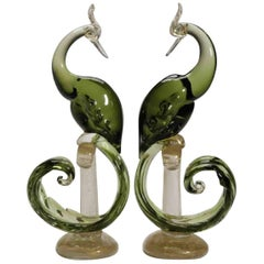 Rare Green Alfredo Barbini Murano Large pair of Sculptural birds