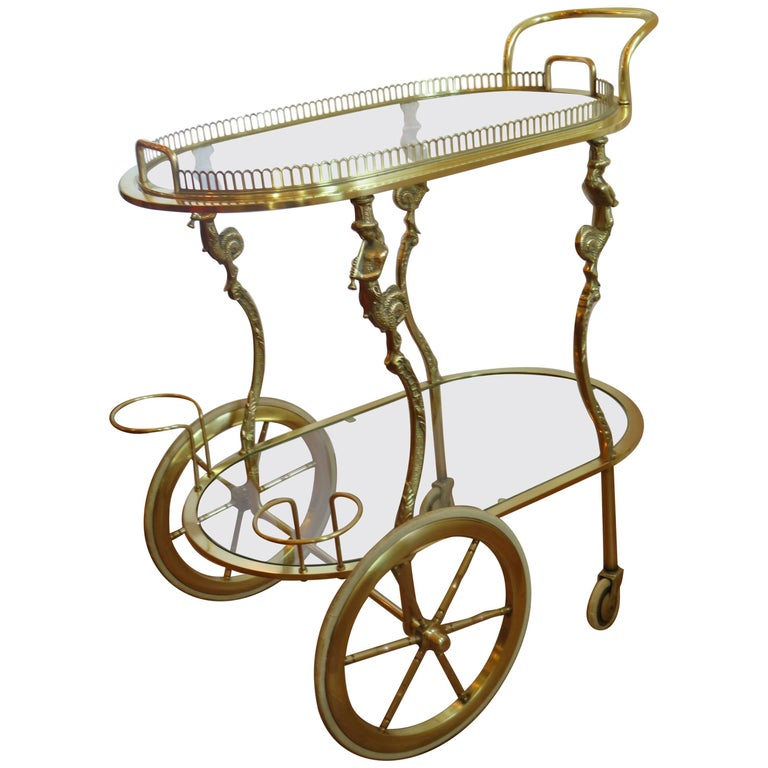 Maison Baguès Rare Brass Bar Cart, circa 1930s For Sale