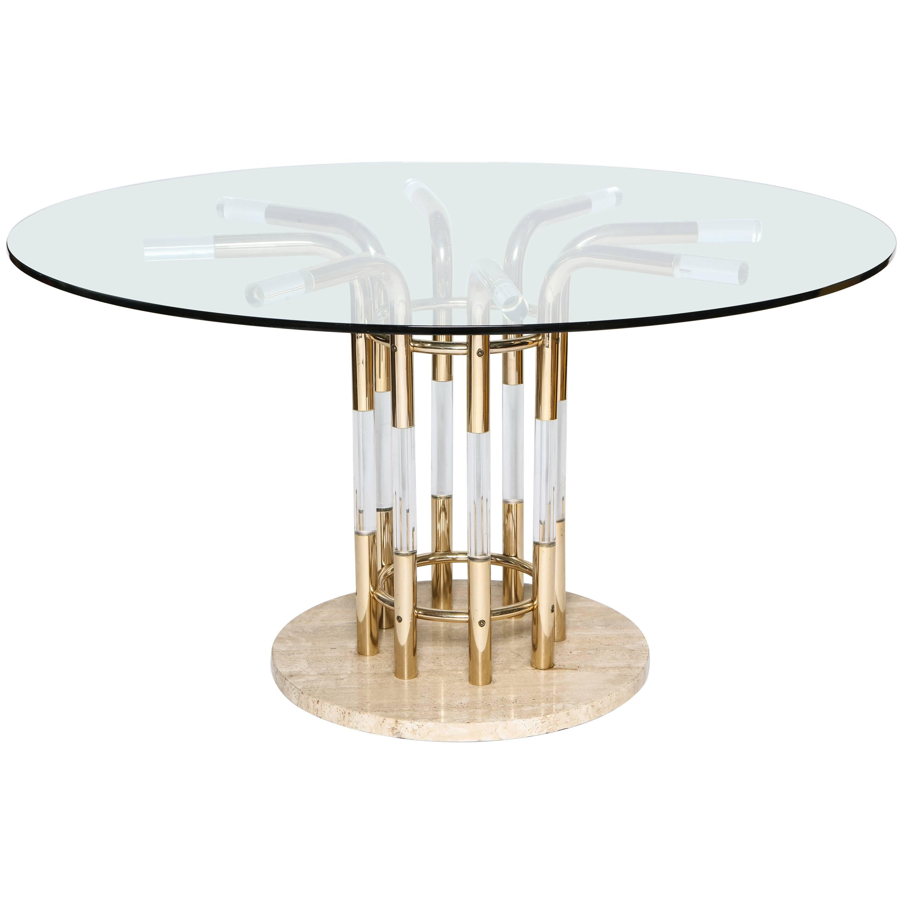 Vintage Lucite Marble and Brass Centre or Dining Table, France, 1970s