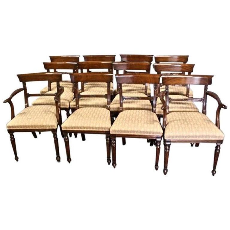 Set of 12 Regency Style Mahogany Dining Chairs